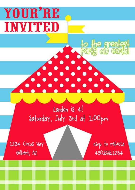 PRINTABLE PARTY INVITATION - Circus Collection