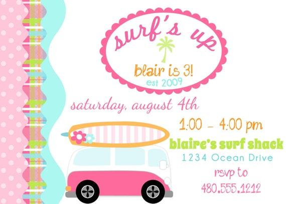 PRINTABLE PARTY INVITATION - Surfer Girl Birthday Beach Party Invite
