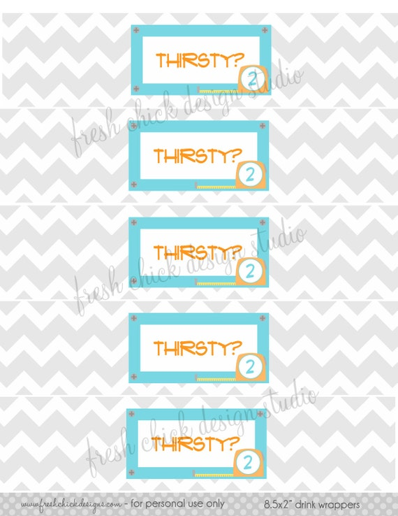 Printable Labels - Tool Box Birthday Drink Wrappers -  Fresh Chick Designs