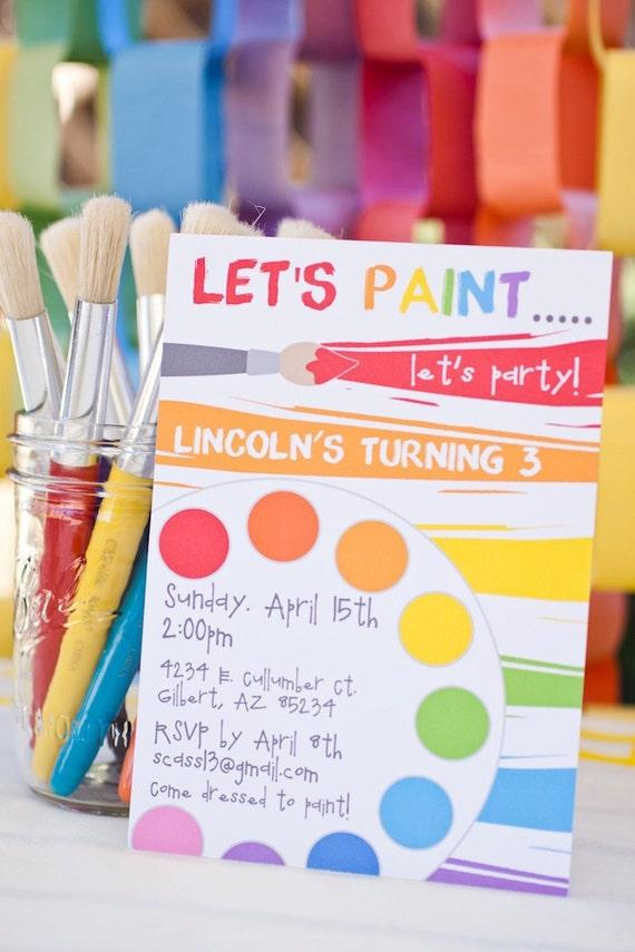 Rainbow Art Paint Party Printable Birthday Invitation - Petite Party Studio