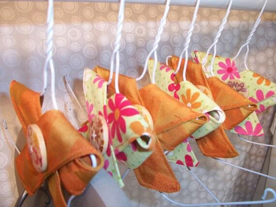 Flip Flop Sandal Organizer Storage Hangers Burnt Orange Green Floral Green Decorators Cotton Fabric Set of 6 SALE