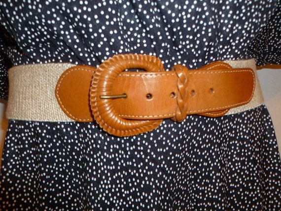 70's Simple Leather and Woven belt Super Stretchy