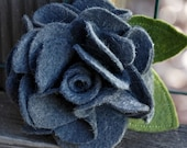 Charcoal grey wool felt flower hair clip and pin