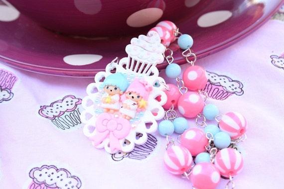SALE Fairy Kei Little Twin Stars Cameo Beaded Necklace Sale