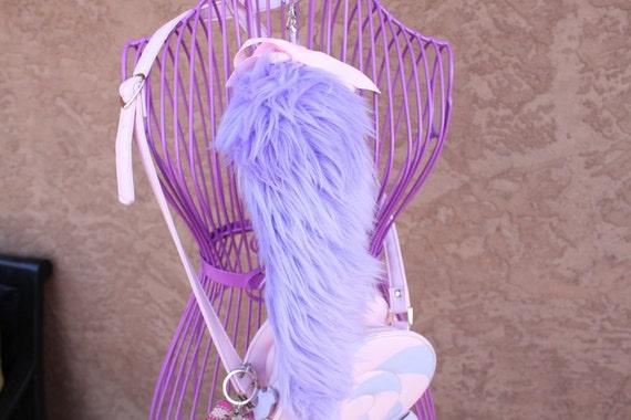 Kawaii Large Lavender Faux Fur Tail Keychain