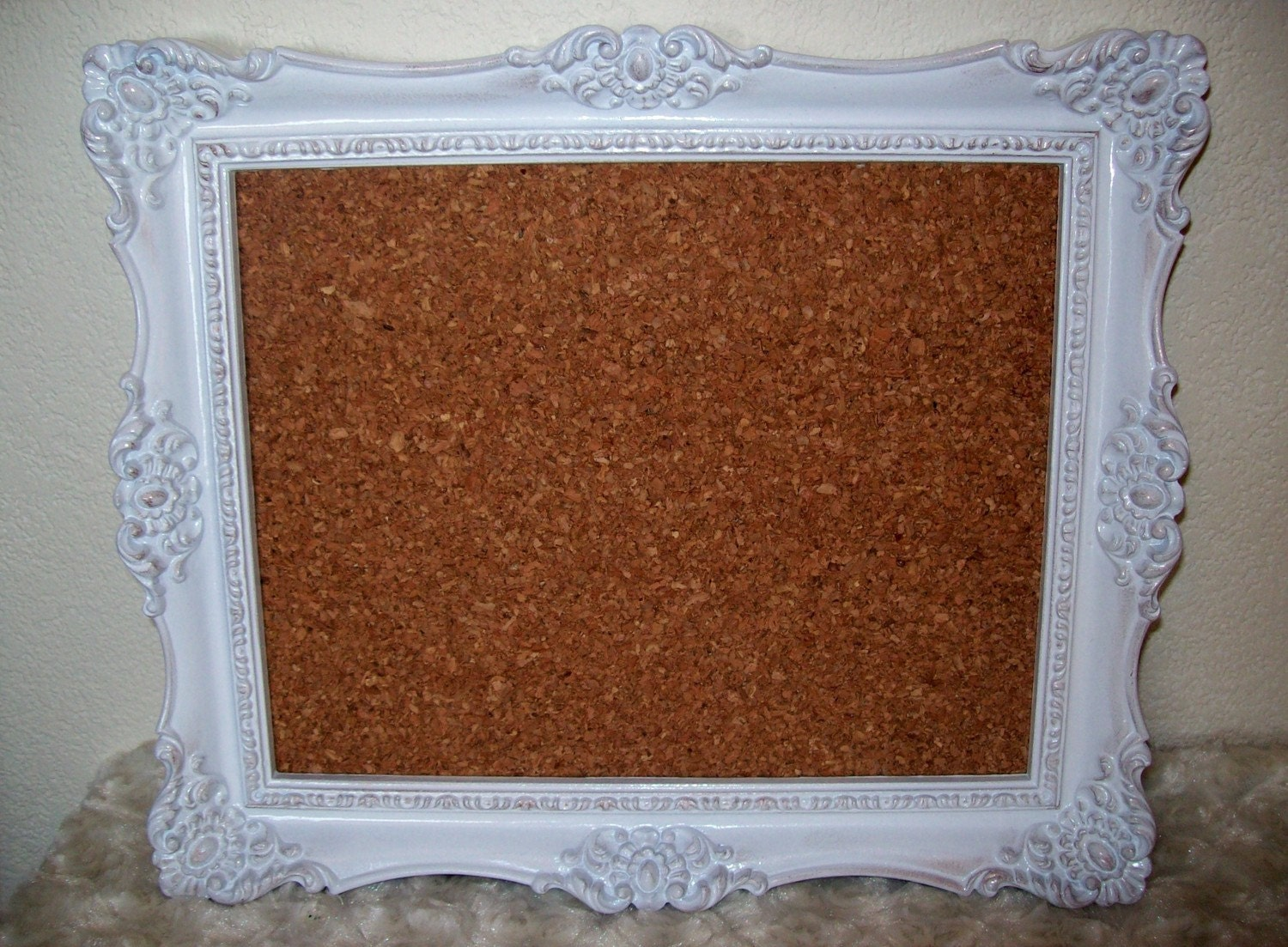 white shabby chic framed cork board by stampyourartout on etsy