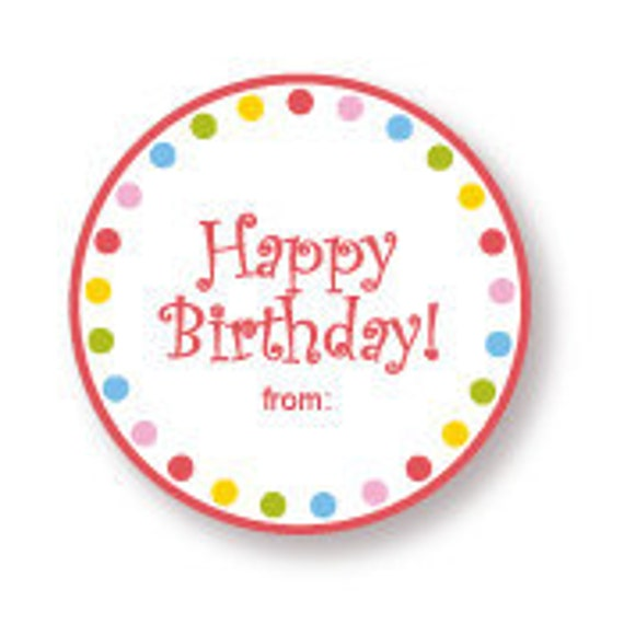 Happy Birthday Gift Labels Red With Multi Dot Border