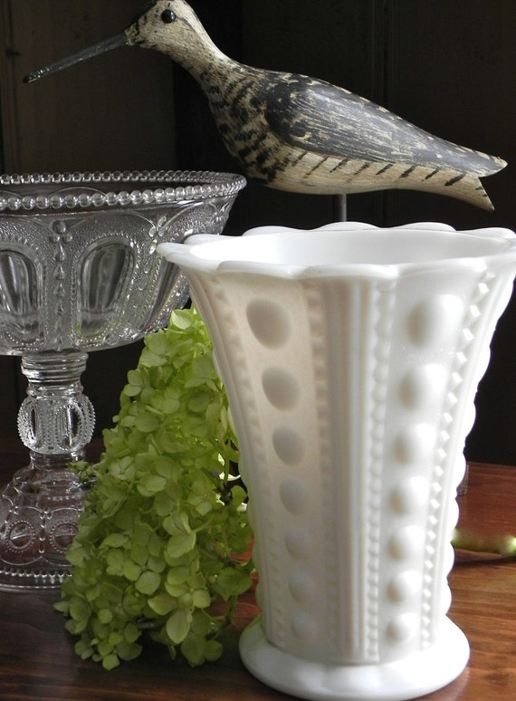 Vintage Hobnail Milk Glass Large Flower Vase Wedding Decor From Country Home City Home