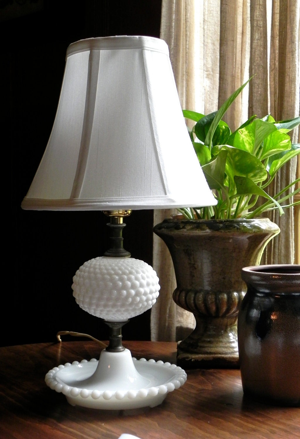 Vintage Milk Glass Hobnail Table Lamp With New Silk Bell Shade