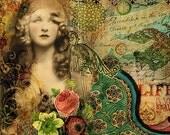 Bohemian Gypsy Fantasy Mixed Media Digital Collage Fine Art Print 'Property of Love'