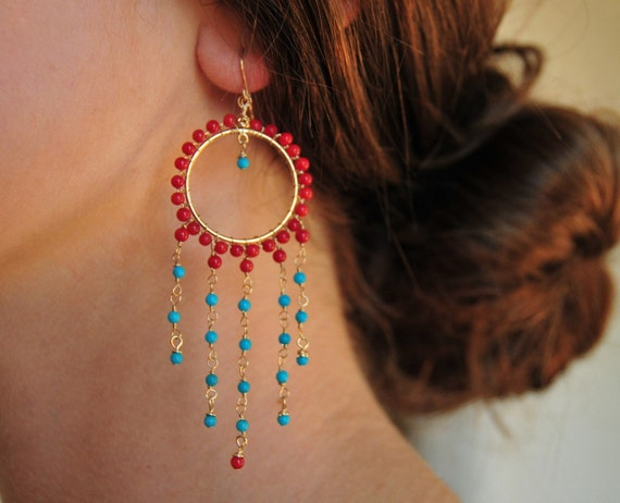NEVINA Dea Turquoise and Coral Gold Fill Earrings- Ready to Ship