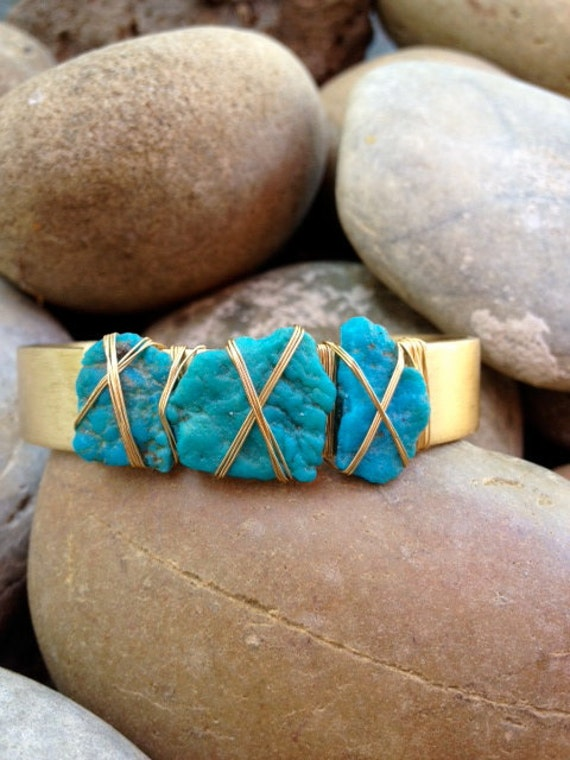 LUX Three Stone Brass Bracelet Bohemian Turquoise Gemstone Cuff