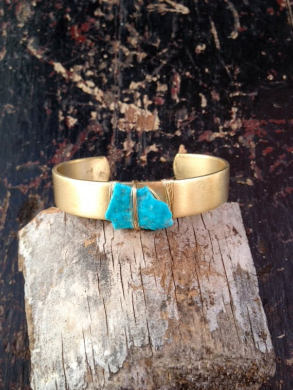 LUX Thin Brass Stacking Wire Wrapped Bohemian Turquoise Gemstone Cuff