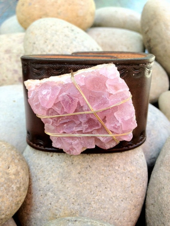LUX 2 Inch Bohemian Recycled Stamped Brown Leather Chunky Pink Flourite Gemstone Cuff With Brass Thumb Post