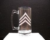 etched sargent stripes on a beer mug