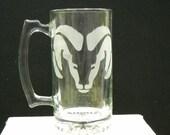 etched Dodge ram beer mug