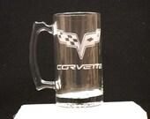 The new corvette emblem on a beer mug