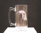 Eagle etched on a beer mug