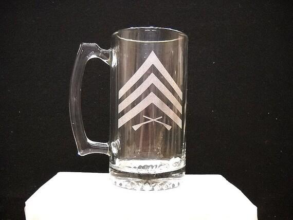 Marine E 5 stripes etched on a mug