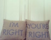 I'm Right, You're Right appliqued pillow