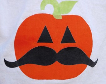 Master of disguise PUMPKIN iton on applique with mustache
