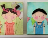 Canvas Children Painting, Wall Art, Nursery, Room Decor - 2 for a special price