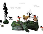 Fabric Wall Sticker 'Wonderland Woodlands The Dinner'