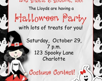 Custom halloween party invitation -- witches and ghosts