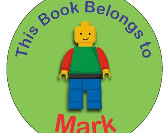 24 round building block man personalized labels stickers  -   boys book label