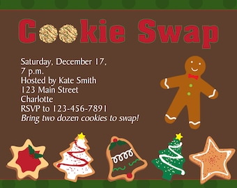 Cookie Swap Invitation Cookie Exchange Invitation Christmas Cookies -- Printable Invitation - You print or I print