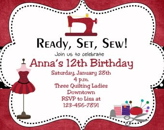 Sewing party birthday invitation  -- sewing birthday -  sewing machine, thimble, thread - You print or I print