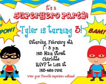 Superhero birthday party invitation -- super hero, superheros --  You print or I print