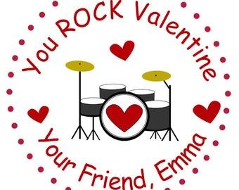 Valentine stickers Valentines stickers Valentine's Day Stickers -- drum sticker -- Valentine drums