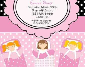 slumber party birthday invitation -  pajama party, sleepover-  girls birthday party invitation - You print or I print
