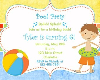 Pool party birthday invitation -- pool party - pool toys - swimming party - boy swimmer