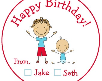 Custom birthday stickers - personalized sticker -  gift tag