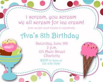 Ice cream party birthday Invitation -- ice cream birthday party ice cream social -- You print or I print