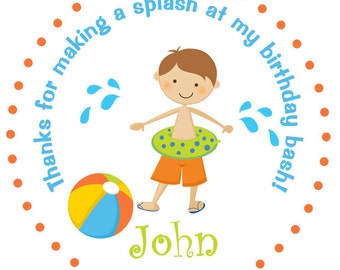 Pool party sticker -- beach ball -- personalized birthday sticker --  favor tag, custom sticker, personalized stickers