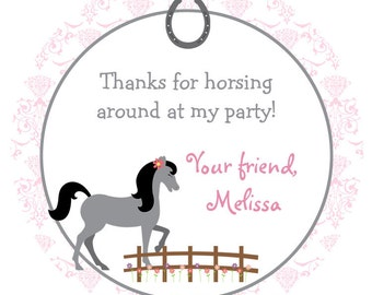 Horseback riding  Birthday Party Sticker -- horse party -  personalized birthday sticker --  favor tag, custom sticker
