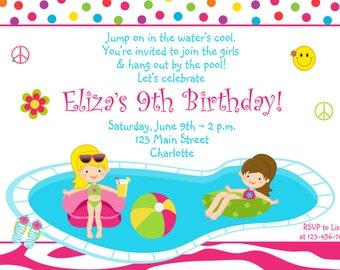 Pool party birthday invitation -- girls pool party - zebra print invitation - swimming party - girl swimmer