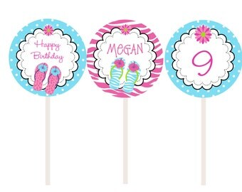 Turqoise Flip flops Cupcake Toppers - Pool party cupcake toppers -- swimming party cupcake toppers