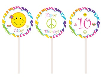 Rainbow Zebra Cupcake Toppers - Peace Sign Happy face cupcake toppers