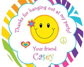 Rainbow happy face peace sign birthday sticker Smiley face stickers --  rainbow zebra print - personalized birthday sticker --  favor tag