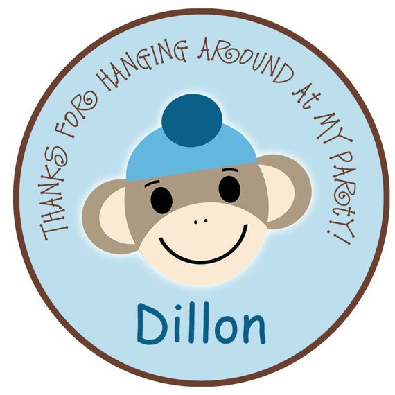 Sock monkey sticker --  favor tag, address label,  personalized stickers