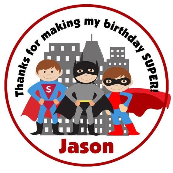 superhero birthday stickers - personalized superhero sticker - superman inspired batman inspired