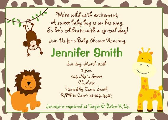 Baby shower invitation - baby boy shower invitation --  jungle animal invitation - you print or I print