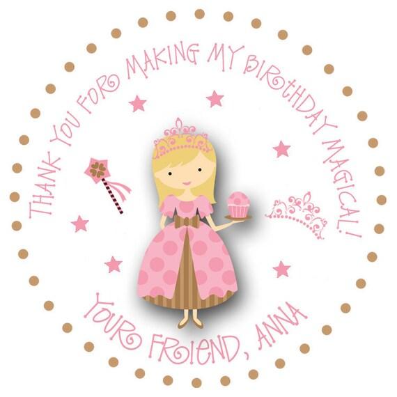 Tea party birthday stickers  -  cupcake princess -- gift tag, good bag, favor bag, address label