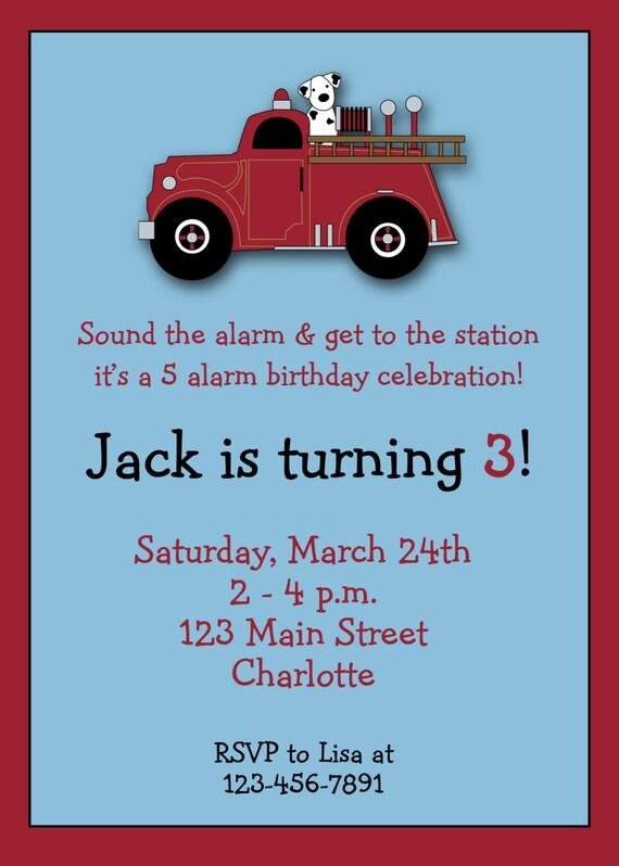 Firetruck birthday invitation -- firetruck firefighter birthday party -- custom invitation - You print or i print