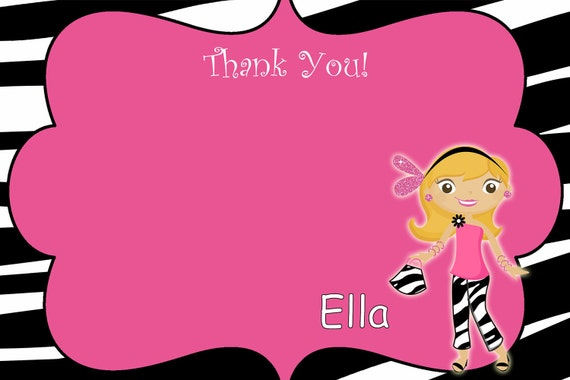 Glamour Birthday Party Thank you note --  glamour party --  you print or I print