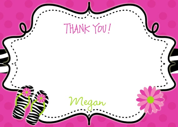 pool party  Birthday Party Thank you note --  flip flops  swimming birthday party thank you note -  you print or I print